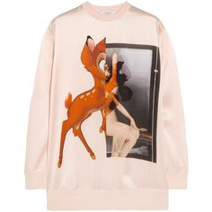 Givenchy Bambi silk-satin sweatshirt ($1,005) ❤ liked on Polyvore featuring tops, hoodies, sweatshirts, sweaters, givenchy, shirts, colorful tops, pattern shirt, pink sweatshirts and print shirts