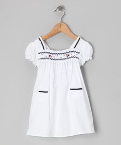 Take a look at this White & Navy Sea Smocked Dress - Infant & Toddler by P'tite Môm on #zulily today!