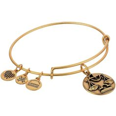 Alex and Ani Libra III (Rafaelian Gold) Bracelet ($22) ❤ liked on Polyvore featuring jewelry, bracelets, gold heart jewelry, heart charm, alex and ani bangles, heart-shaped jewelry and charm jewelry