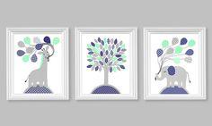 Gray Mint Navy Nursery Art, Elephant Nursery Art, Giraffe Nursery Decor, Childs Room Decor, Gender Neutral, Toddler Decor, Kids Decor by SweetPeaNurseryArt on Etsy https://www.etsy.com/listing/187596367/gray-mint-navy-nursery-art-elephant
