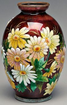 A Limoges Camille Faure vase, signed (1874 to 1956), ovoid with enameled floral decoration on dark burgundy ground copper rim~Origin France~Circa 1925-1855