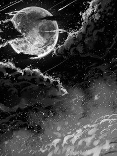gif beauty art Black and White anime beautiful sky landscape b&w moon night edit artwork monochrome clouds forest scenery cloud anime gif anime scenery anime monochrome Galaxy Black And White, Black And White Clouds, White Sky, Black And White Drawing, Night Sky Drawing, Cloud Drawing, Moon Drawing, Drawing Art, Galaxy Tattoo Sleeve