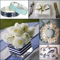 Nautical Centerpiece: I like the blue and white ribbon on the short square vase.