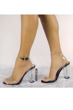 clear perplex heels chunky heel block style