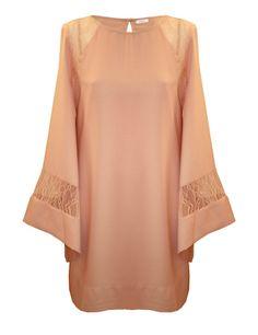 Poéte. Vestido tipo túnica color crema 0414