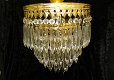Vintage Tiered Hanging Crystal Chandelier Ceiling Fixture Light with Crystals