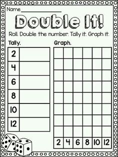 """""""Double It!"""" math center to practice DOUBLES! Also great graphing practice. Great game for practicing math facts! Math Classroom, Kindergarten Math, Teaching Math, Teaching Ideas, Teaching Strategies, Classroom Ideas, Second Grade Math, First Grade, Grade 1"""