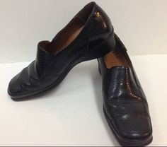 MEPHISTO Air Jet leather loafers BLACKwomen's size 8.5 dress wedge shoes  #Mephisto #LoafersMoccasins
