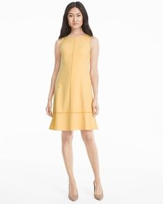 White House Black Market Yellow Fit-and-Flare Dress Found on my new favorite app Dote Shopping #DoteApp #Shopping