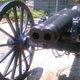 This is a double-barreled cannon from the civil war, on display outside city hall in Athens, GA.