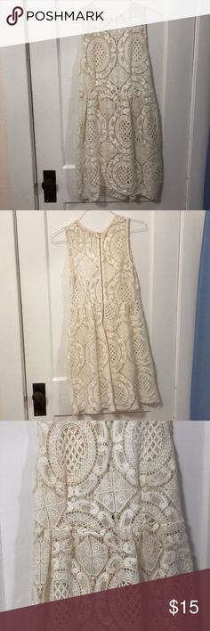 Urban Outfitters Lacy Dress White Kimchi Blue lacy dress. Crotchet lace style. Very sweet dress, great for a bridal shower, day date, etc. Includes only the outer layer, it needs a slip. Urban Outfitters Dresses