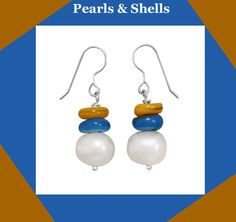 Affordable Pearl Earrings! Fashion french wire earrings with multi-color shell bead and genuine cultured freshwater pearl drops. The shell beads are approximately 8mm and the colors will vary. The cultured freshwater pearls are approximately 9mm - 10mm.