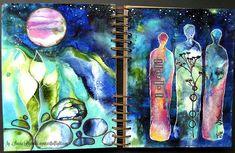 "Art journaling Youtube Hop - mixed media art journal page ""Under the Stars"" by Sanda Reynolds www.artfulflight.com"