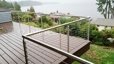 Stainless Steel Railing Systems Round Middle Post for Cable Railing - Inline Design Wood Pergola, Deck With Pergola, Pergola Plans, Diy Pergola, Pergola Ideas, Roof Deck, Pergola Kits, Landscaping Ideas, Glass Railing System
