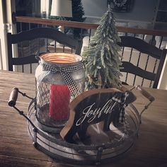 Simple Rustic Christmas Table Centerpiece. Tray from Kirkland's. All other items from JoAnn's.