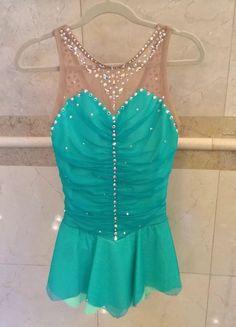 Del Arbor Figure Skating Dress Teal Lycra/mesh Swarovski Crystals Girls 8-10 #DelArbour