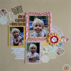 Hahahaha....all that work, and she misspells 'dirty'!  Aaaand still pins it?  Too funny.  (Dirty Camping Face *Scrapbooking Kits with a Difference* - Scrapbook.com)