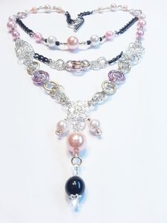 SALE Pink Black Gold Pearls Necklace Earring Set di CinfulDesigns, $29.00