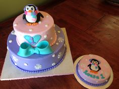 Penguin themed cake with smash cake