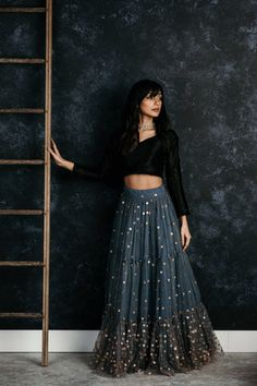 Black & Grey Lehenga Choli – Fabbily Source by outfits indian Indian Gowns Dresses, Indian Fashion Dresses, Dress Indian Style, Indian Designer Outfits, Designer Dresses, Indian Style Clothes, Pakistani Dresses, Evening Dresses, Fashion Outfits