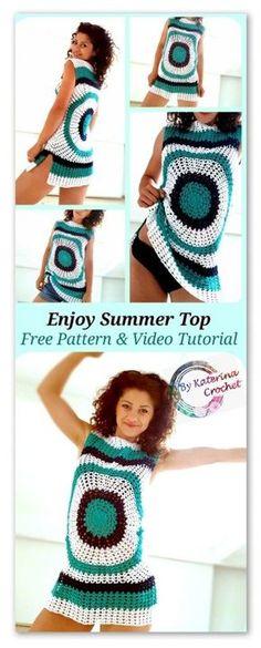 Enjoy Summer Top. Free crochet pattern & Video Tutorial