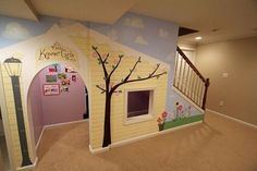 12 Kids Indoor Playhouse Under Stairs · Under Stairs Playhouse, Space Under Stairs, Kids Indoor Playhouse, Build A Playhouse, Closet Playhouse, Inside Playhouse, Playhouse Ideas, Stair Storage, Diy Storage