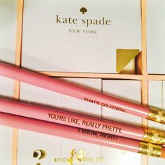 I need these Mean Girls pencils & Kate Spade sticky notes! don't you agree? College Supplies, Cute School Supplies, Too Cool For School, Back To School, School Stuff, School Life, College Life, High School, All Things Cute