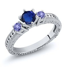 084 Ct Round Blue Simulated Sapphire Tanzanite 925 Sterling Silver 3Stone Ring ** Check out this great product.Note:It is affiliate link to Amazon.