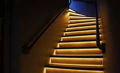 Led Light Strips On Stairway