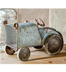 Distressed Vintage Blue Tractor Statue