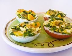 Spinach-Herb Eggs on the Half Shell