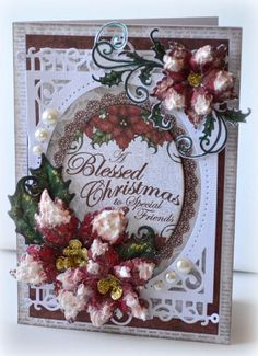 SCSCCJUL15, CCC15,  A Blessed Chrismtas Sparkling Poinsettia Card