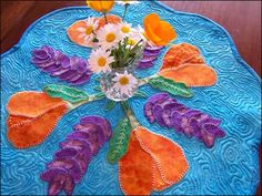 Free Quilting Pattern and Tutorial - Spring Flower Tablemat