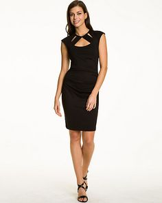 Ponte Cut Out Cocktail Dress - Add to your cocktail attire with this fitted dress designed with eye-catching cut outs.