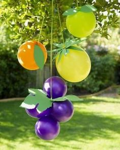 Graphic Mobile Party Decoration, fruit balloons- fruit of the spirit lesson Fruit Birthday, 2nd Birthday Parties, Birthday Ideas, Frozen Birthday, Diy Birthday, Happy Birthday, Fruit Of The Spirit, Deco Ballon, Fruit Party