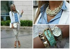 Going out outfit, slim trouser print, denim shirt, white blazer with bold jewellery