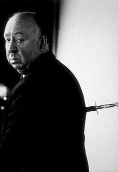 Alfred Hitchcock on the set of Alfred Hitchcock Presents 1956