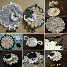 How to DIY Cute Crochet Lamb Coaster✿ƬⱤღ http://www.pinterest.com/teretegui/✿