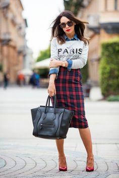 Plaid skirt, jean shirt & sweater combo