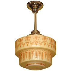 1930s Tan Art Deco Design on Tiered Custard Glass Shade | 1stdibs.com