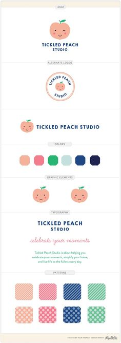 Tickled Peach Studio logo and brand identity by Aeolidia. A sweet, flirty peach becomes the mascot for Tickled Peach Studio. We created a playful and cheery brand with bright graphics and friendly typography to welcome the kids and kids at heart who shop here