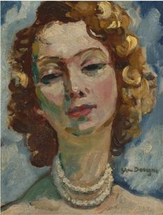 Painting by Kees van Dongen (1877-1968), Portrait de femme, oil on panel.