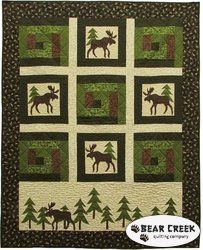 Moose on the Loose - Moose in the Cabin Free Pattern by Benartex.  Hmmm ... perhaps a horse quilt?
