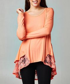 Look at this Peach Lace-Trim Hi-Low Tunic on #zulily today!