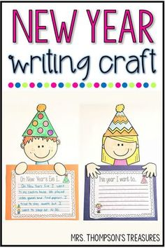 Free new years writing craft after the winter break its always nice to be prepared with a fun activity to get everyone back into school mode! Writing Prompts For Kids, Teaching Writing, Writing Activities, Classroom Activities, Teaching Ideas, Recount Writing, Writing Genres, Writing Ideas, Classroom Freebies