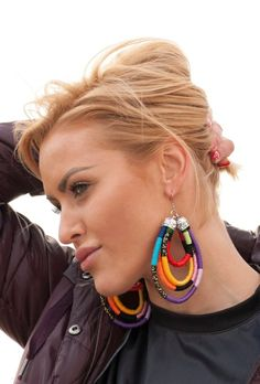 Oversized African Earrings Tribal Earrings Rope by KiaFilStudios Diy African Jewelry, African Accessories, African Earrings, Tribal Earrings, Beaded Earrings, Statement Earrings, Earrings Handmade, Fashion Accessories, Textile Jewelry