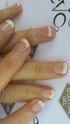 French with a flower gel nails