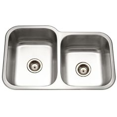 Houzer EC-3208SR-1 Elite Series Undermount Stainless Steel 60/40 Double Bowl Kitchen Sink, Small bowl Right