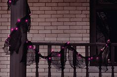 9 Prelit Black Gauze Fabric Novelty Halloween Garland  Pink Purple Lights >>> Want to know more, click on the image.