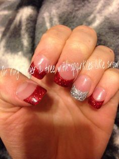 Christmas Day Games Holiday Christmas nails- these looks like the ones I got over the summer…gahhhh Xmas Nails, Prom Nails, Holiday Nails, Christmas Nails, Wedding Nails, Glitter Nails, Gel Nails, White Christmas, Red Tip Nails